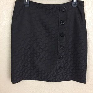 Ann Taylor Size 8 Dk Brown Button Detail Skirt F4